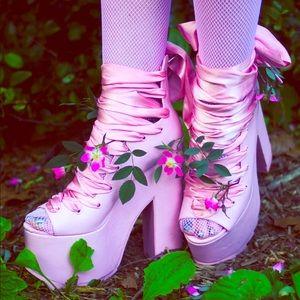 YRU Dolls Kill Ballet Bae Pink Platforms Offers👍